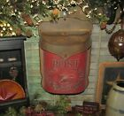 Primitive Antique Vtg Style Red   Rust Bird Tin Metal Hanging Mail Post Box
