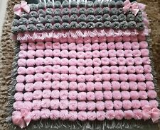 Pom Pom Turnover Baby Blanket Baby Pink & Silver Grey With Pink bows