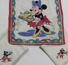 3 Pc. lot Vtg Disney Hankie Mickey Minnie Mouse Tea Party WDP Hankerchief Hanky