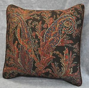 Corded Accent Pillow made w Ralph Lauren Bedford Hunt Brown Paisley Fabric 17""