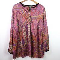 Lauren Ralph Lauren Women's Blouse Paisley Long Sleeve Top Career Plus Size 3X