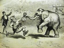 REPUBLICAN ELEPHANT FREE WHISKEY ALCOHOL 1887 Art Matted