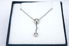 18k White Gold Diamond Pendant with Chain ( 0.06ct ) NEW