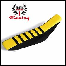 Ribbed Gripper Seat Cover Black/Yellow Suzuki RMZ 250 2007-09