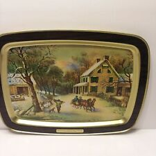 Vtg Currier & Ives American Homestead Winter 1868 Metal Serving Tray 14 3/4 X 11
