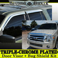 2007-2014 Ford Expedition 4PC Chrome Door Visors Rain Guards + Chrome Bug Shield