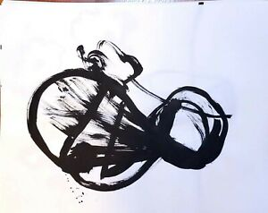 ABSTRACT CONTEMPORARY PAINTING BLACK INK GALLERY DECOR WILD DESIGN ORIGINAL ART