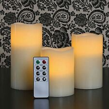 Sentik Set of 3 Vanilla Scented Wax Mood LED Flameless Candles W/ Remote Control