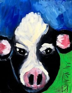 COW PAINTING original SWARTZMILLER DNA SIGNED large 11X14 stretched canvas Art