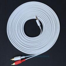 10M WHITE LONG 3.5MM MINI JACK TO 2 RCA PHONO PLUG AUDIO CABLE HIFI STEREO LEAD