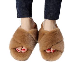 Women's Winter Real Mink Fur Slippers Flat Heel Sliders Fur Sandals Cute Slides