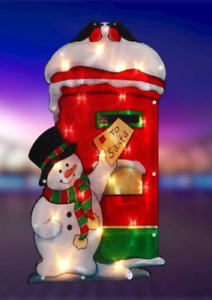 Snowman Light Up Sign Large 10LED Christmas Window Decoration Xmas Party Hanging