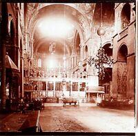 ITALIE Venise Basilique Saint Marc Intérieur, Photo Stereo Plaque Verre ca 1900