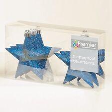 Premier 6 x Bleu nuit Paillettes Étoiles Arbre de Noël Décorations 10 cm