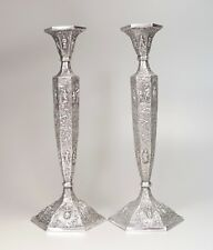 2 Barbour Silver Co Dutch Motif Repousse Silver Over Copper Candlesticks 12 3/8""