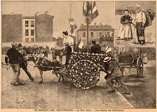 93 SAINT OUEN LE BANQUET DES CHIFFONNIERS CHAR FLEURI DOYEN IMAGE 1897 PRINT