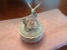 Vintage White Porcelain Lidded Trinket Jar w/ Pink Rose Flower&Hummingbird Lid