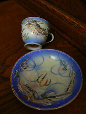 Hand Painted Dragon Teacup and plate by Wales China, Japan