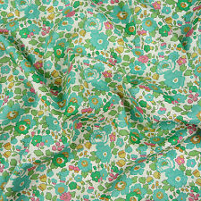 Liberty Betsy R Teal Green Tana Lawn Fabric / Quilting Dressmaking Floral