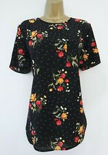 GEORGE BLACK RED YELLOW FLORAL SPOT PRINT BLOUSE TOP SIZE 14 BNWT ZIP BACK