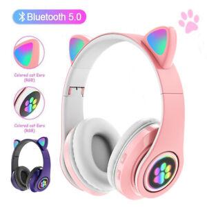Bluetooth 5.0 Kopfhörer Stereo LED Katzenohr Faltbare Headset Kinder Over-Ear
