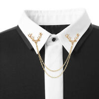 Elk Stud Brooch Shirt Tip Gold Cool Gift Deer Head Animal Chain Pin Collar Neck