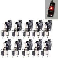 10x 12V/20A KFZ Boot Carbon Fiber LED Licht Schalter EIN/AUS Kippschalter Rot