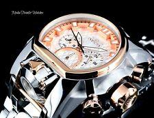 52MM Invicta Bolt Zeus MAGNUM Quartz Dual Movt Silver Rose& Gold Bracelet Watch