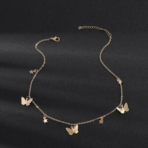 Butterfly Stars Pendant Silver Gold Chain Necklace Clavicle Xmas Gift Free Bag