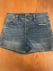 Justice Youth Girls Shorts Size 20 Plus Button Up Front Medium Wash Denim