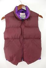 Crescent Down Works Seattle Full Zip Down Puffer Vest Maroon Purple Nylon XS