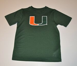 NWOT Miami Hurricanes Boys Green Youth T-Shirt Shirt (S,M) Small Medium Jersey