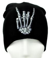 Skeleton Horns Up Heavy Metal Sign Beanie Alternative Clothing Knit Cap Death