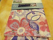 Nwt 13 pc ~Purple~Pink Peva Large Flowers Shower Curtain~ roller hooks Grommets