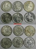 Switzerland Silver LOT OF 6 COINS 1950-1960 1/2 Franc  KM# 23