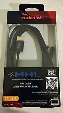 NEW BestBuy Rocketfish Brand 8 ft MHL cable black 1080p FULL HD micro USB > HDMI