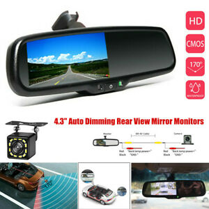4.3in Reversing Auto Dimming Rear View Mirror Monitors Rear 12 LED Camera Night
