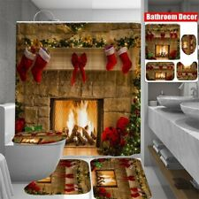 Christmas Fireplace Shower Curtain Bathroom Waterproof Carpet Toilet Cove