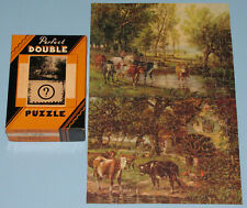 "VTG PERFECT DOUBLE PICTURE PUZZLE ""LAND OF PLENTY"" ""OLD MILL"" COWS CATTLE VG CIB"