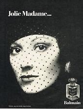 PUBLICITE ADVERTISING 015  1973  BALMAIN parfum femme JOLIE MADAME