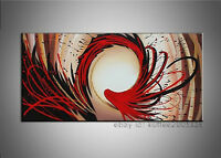 Hand Painted Red Abstract Oil Painting Cyclone Canvas Wall Art Framed Home Decor