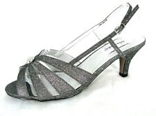 Dyeables Fiona Pewter Sparkle Shoes 9W Kitten Heel Slingback Sandal Party Bridal