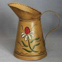 Vintage TOLEWARE Hand Painted TIN PITCHER