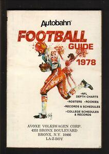 Autobahn--1978 Pro & College Football Guide/Schedule Booklet--Avoxe Volkswagen