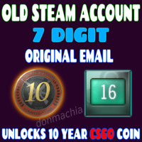 OLD STEAM ACCOUNT 2004 16 YEARS OLD - 7 DIGIT - FIRST EMAIL - CSGO 10 YEAR COIN