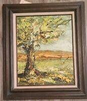 "Jim Howard Rabby Original Oil Painting 1972 ""Autumn Tree on Mr. White's Ranch"""