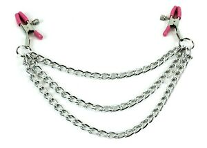 """Breast Nipple Clamps 2.5mm 16"""" Chain Clip Clamp BDSM Bondage Metal Sex Toy"""