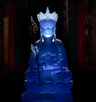 21CMChina Bule Resin Buddhism Tang Priest Ksitigarbha Boddhisattva Buddha Statue