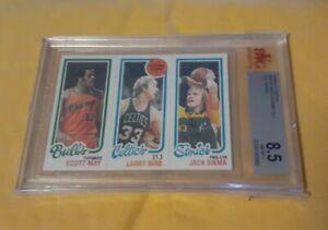 "1980-81 Topps Larry Bird Rc/Scott May/Jack Sikma BVG 8.5 ""Near M-Mint"" Celtics"