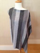 CASHMERE Fine Wool SHADES OF GRAY STRIPE Poncho Wrap Topper One Size NWT